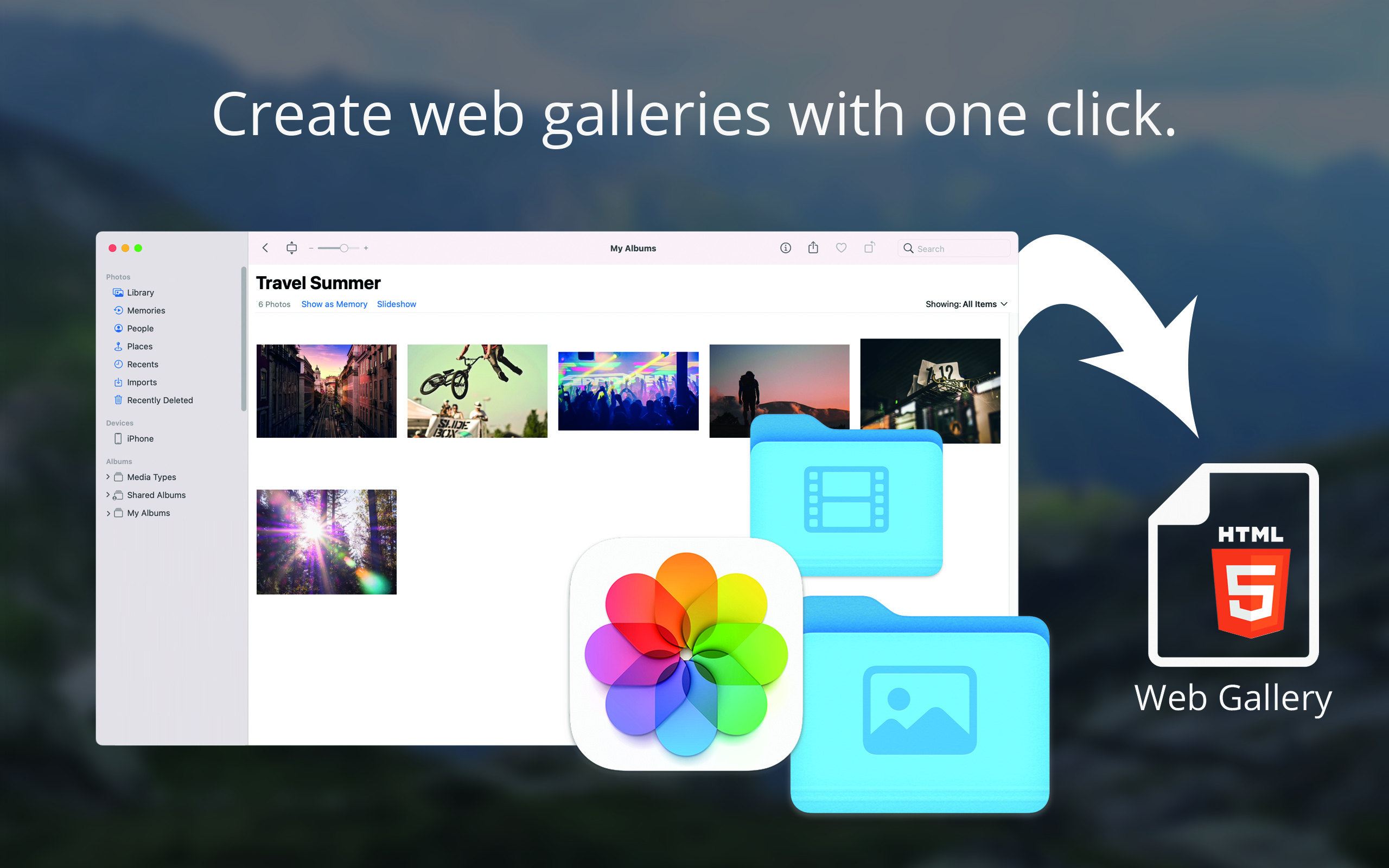 Create web gallery on Mac OS