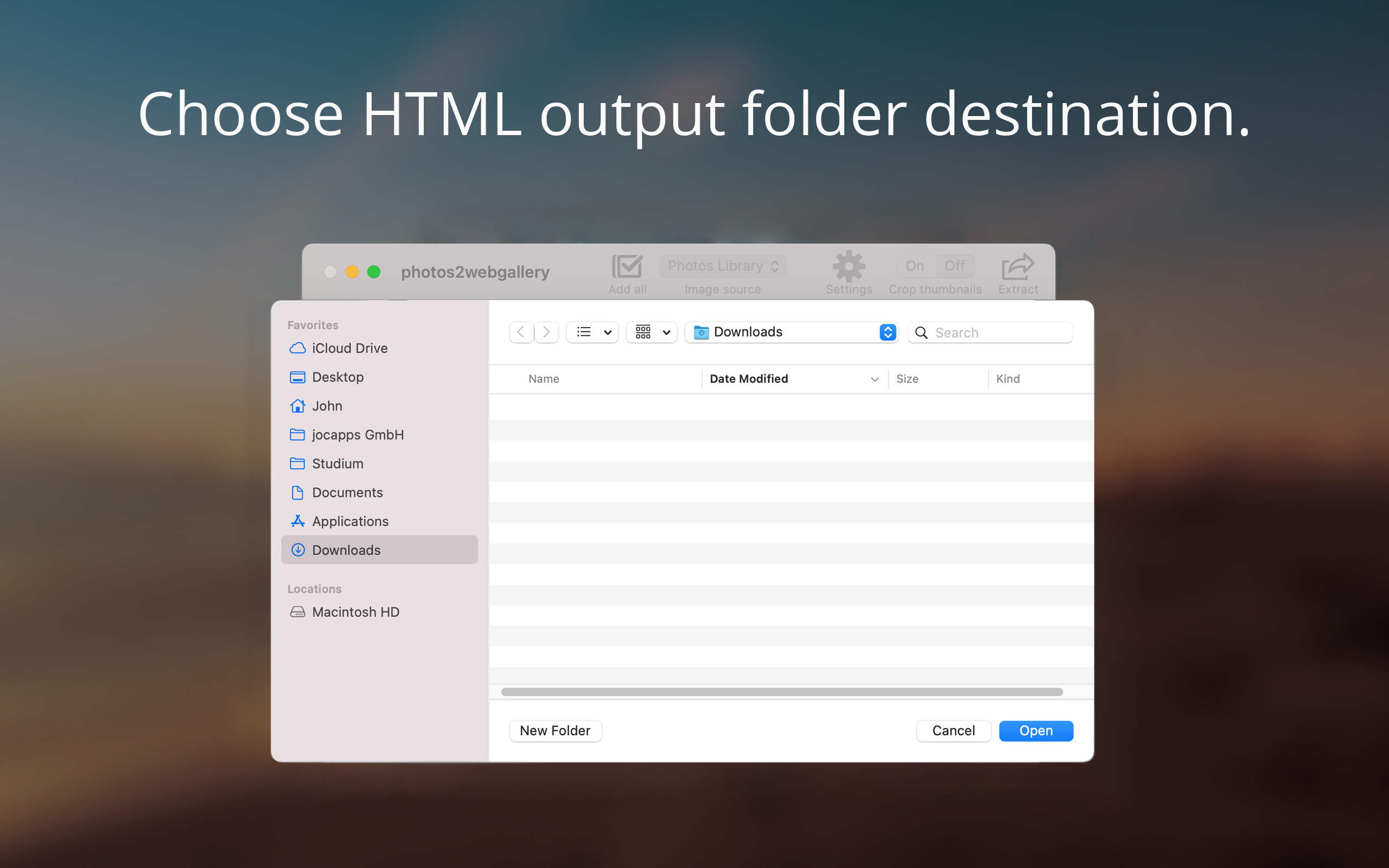 Choose HTML output folder destination.